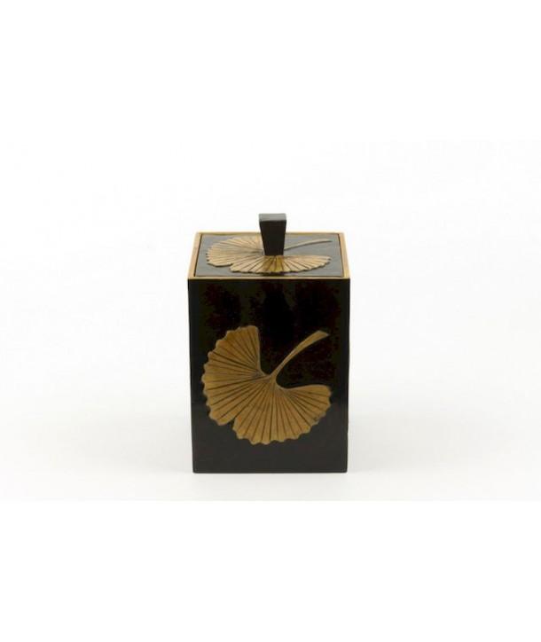 Boîte à thé carrée gingko en pierre fond noir