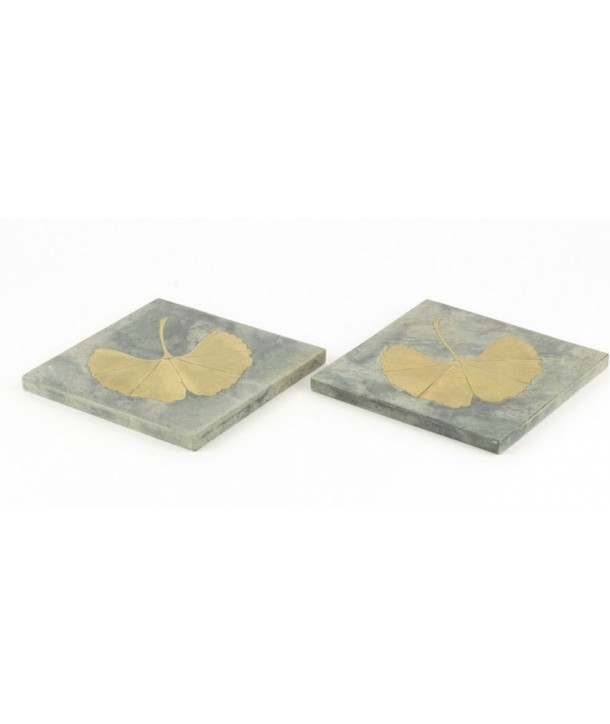 Set of 2 square bottle coasters in natural stone with a brass Ginkgo