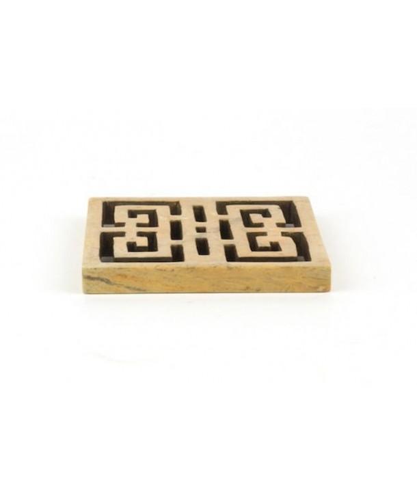 Set de 6 dessous de verre carré ajouré symbole du bonheur en pierre naturelle