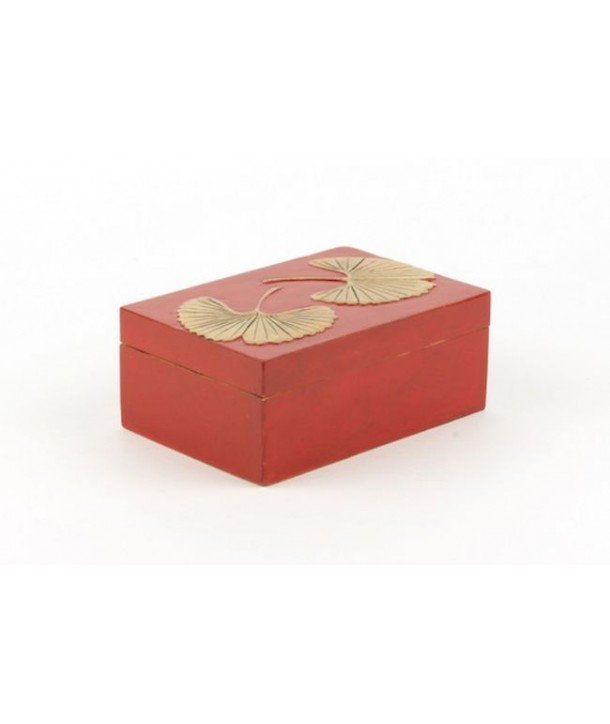Ginkgo pattern big rectangular box in stone with red background