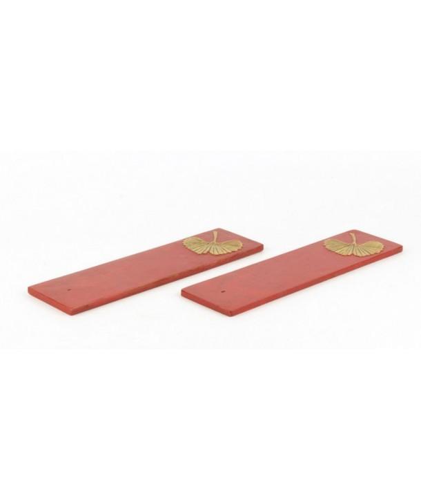 Set de 2 portes-encens gingko en pierre fond rouge