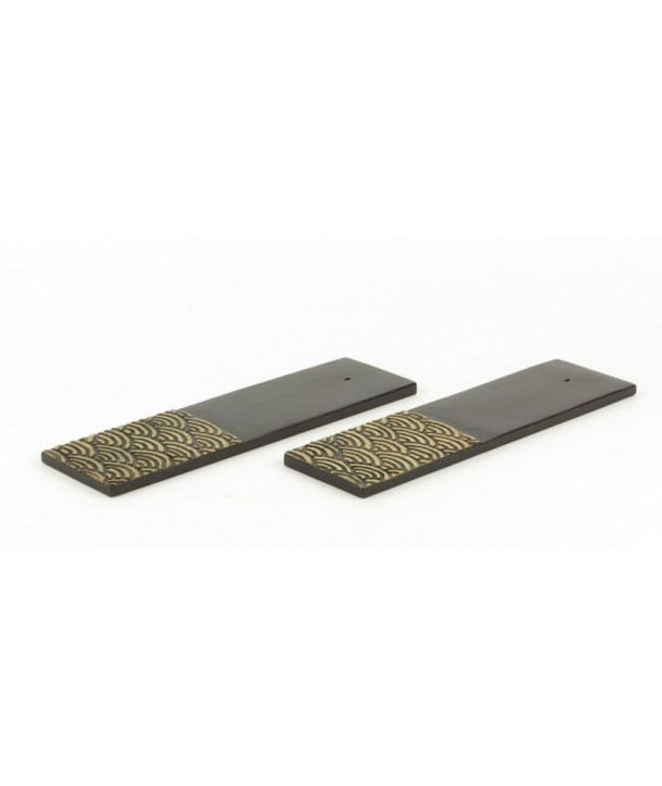 Set of 2 stone wave incense holders with black background