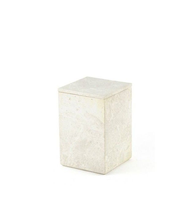 Large square box in stone with natural stone lid