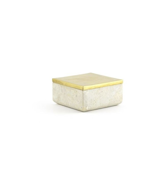 Medium size square box in stone with coppery brass coated lid