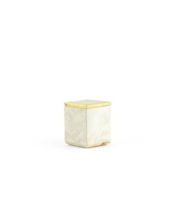 Petite boîte carrée couvercle serti laiton cuivré