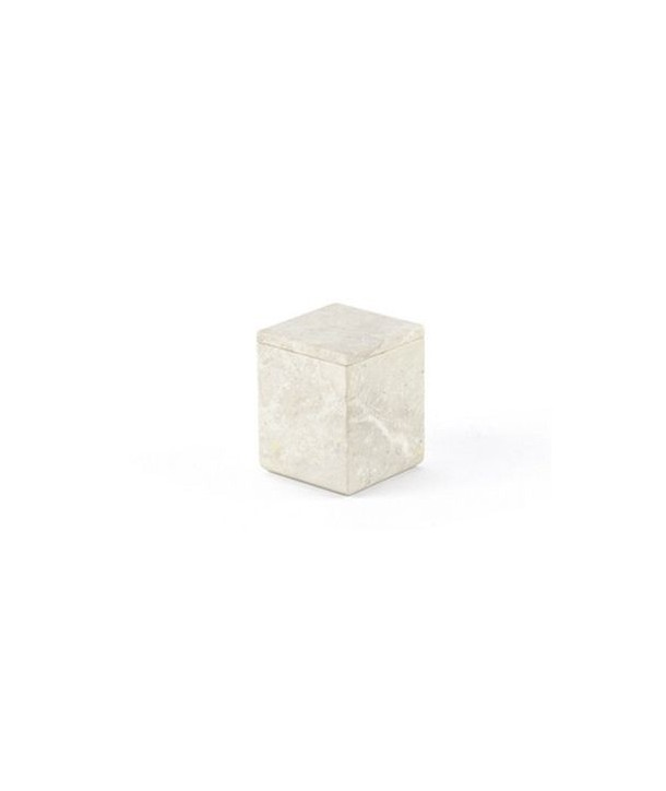 Small square box in stone with natural stone lid