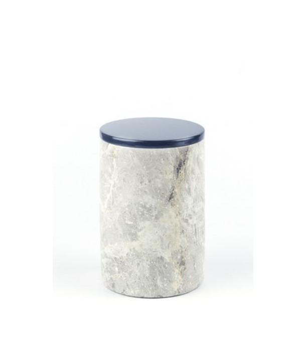 Grande boîte ronde étroite en pierre avec couvercle laqué