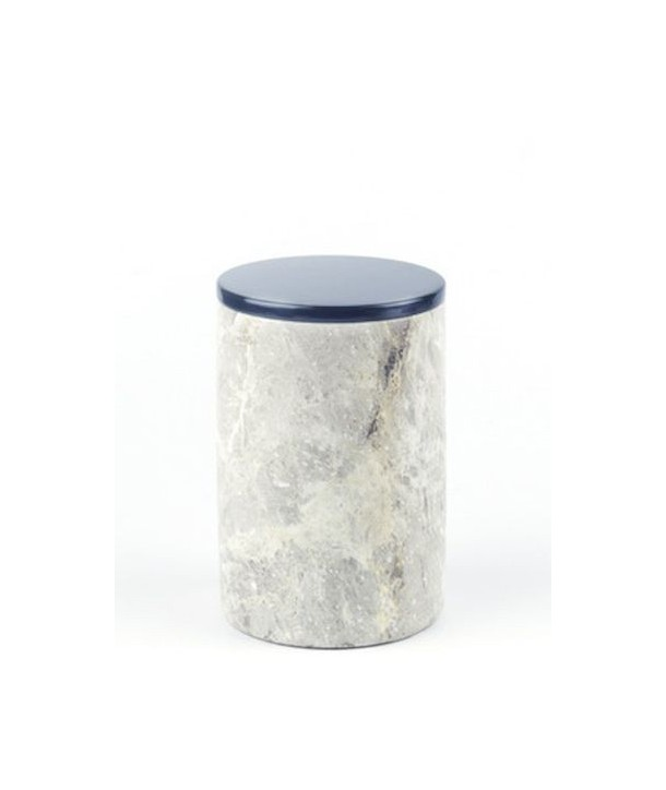Long narrow cylindrical box in stone with lacquered lid