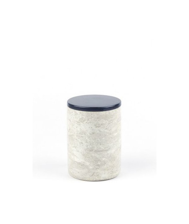 Moyenne boîte ronde étroite en pierre avec couvercle laqué
