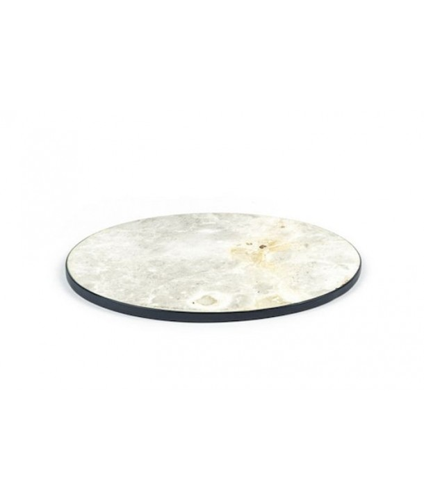 Lacquered edges round tablemat in stone