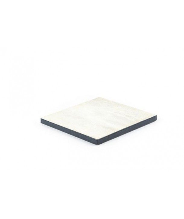 Set of 2 square lacquered edges bottle coasters in stone