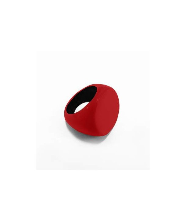 Round ring in black buffalo horn and red lacquer