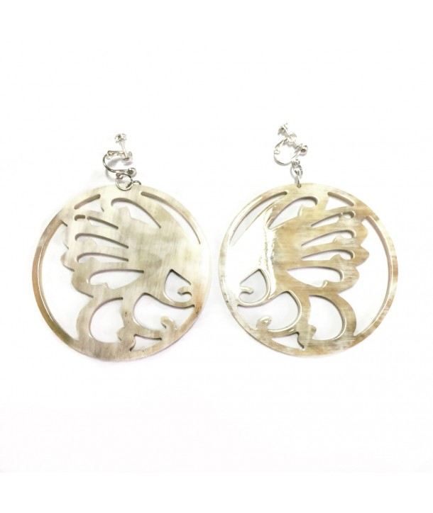 Full circle lace earrings screw clips in white african horn