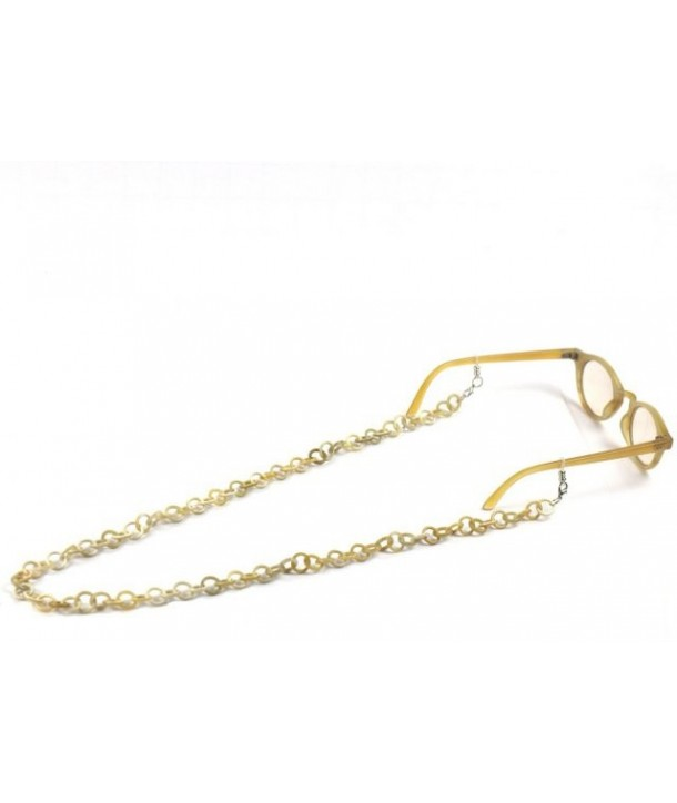 Eyeglasses chain and necklace with small rings in white horn