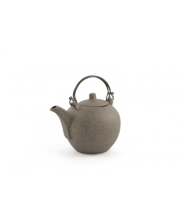 Black round teapot with coppery brass handle