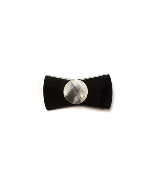 Black horn knot-shaped brooch with a blond horn bead