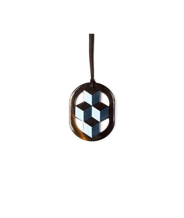 Oval 2-tone blue lacquered pendant