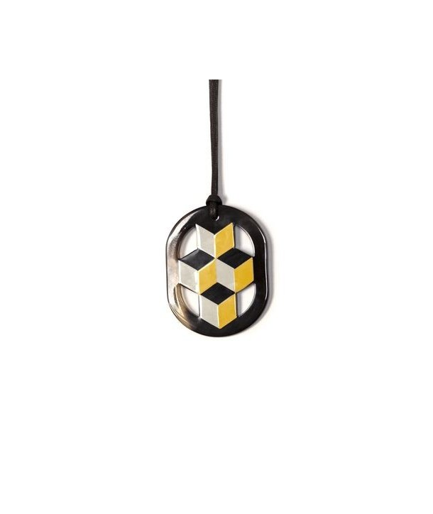 Oval yellow and gray lacquered pendant