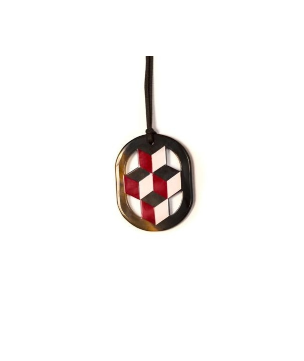 Oval pink and red lacquered pendant