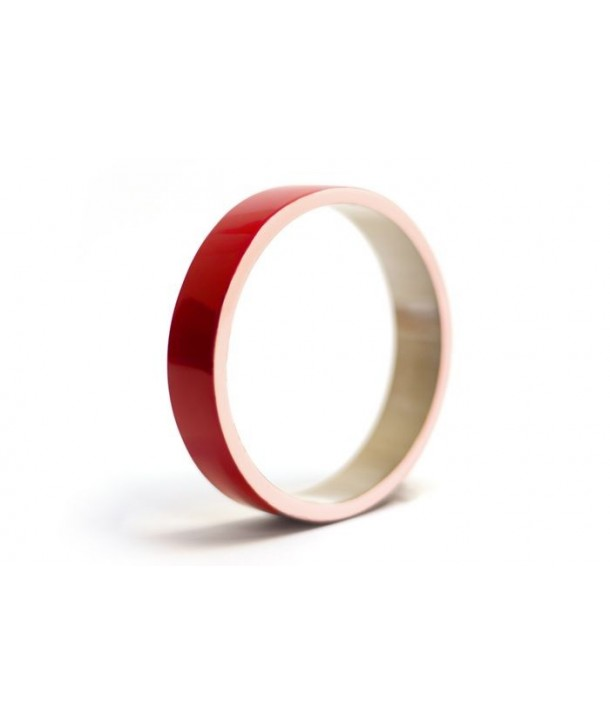 Horn bracelet with pink and red lacquer in Size S