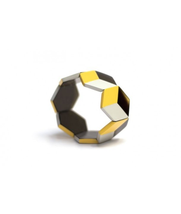 Hexagonal bracelet with yellow and gray lacquer