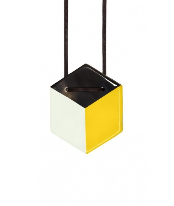 Hexagonal pendant with gray and yellow lacquer
