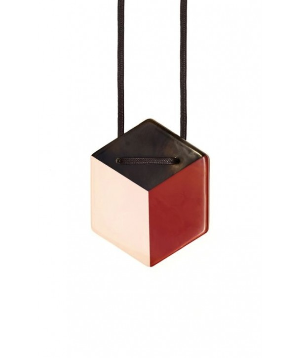 Hexagonal pendant with pink and red lacquer