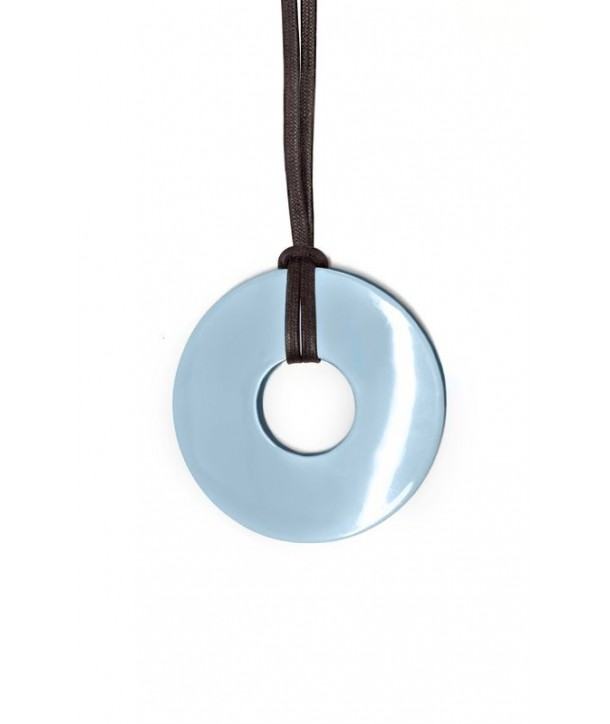Thick ring pendant with 2-tone blue lacquer