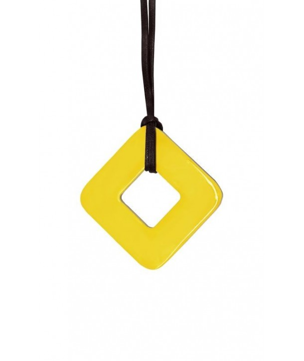 Square pendant with yellow and gray lacquer