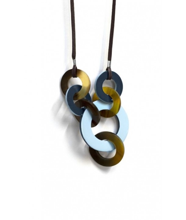 Destructured necklace with 2-tone blue lacquer