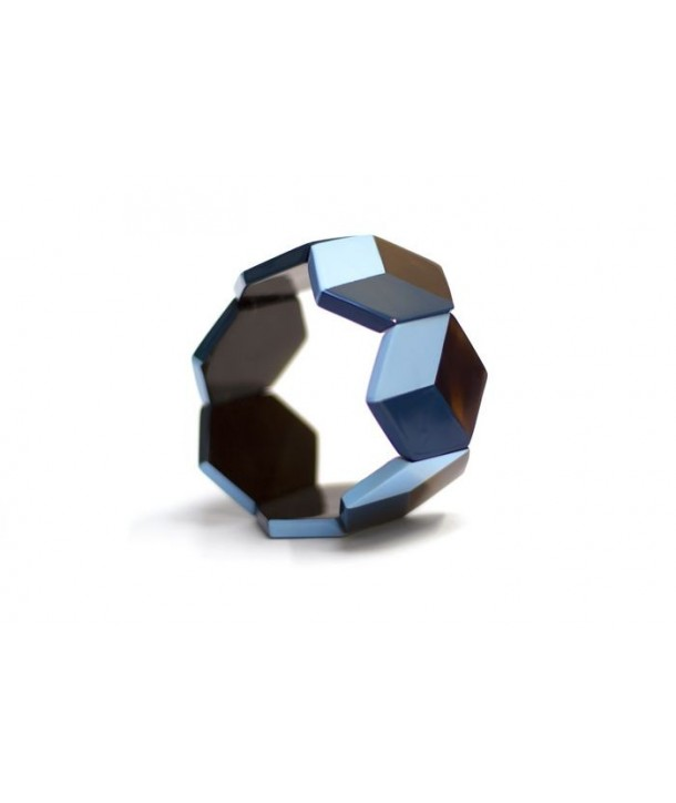 Hexagonal bracelet with 2-tone blue lacquer