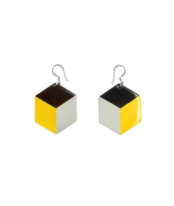 Hexagonal earrings with yellow and gray lacquer