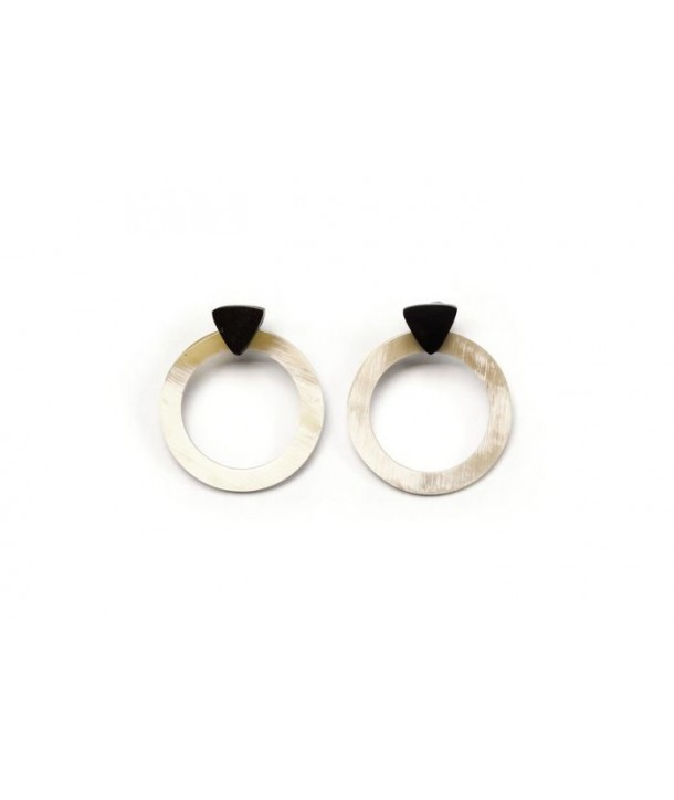 Blond horn circle and black triangle earrings