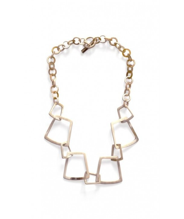 Blond horn trapeze rings necklace