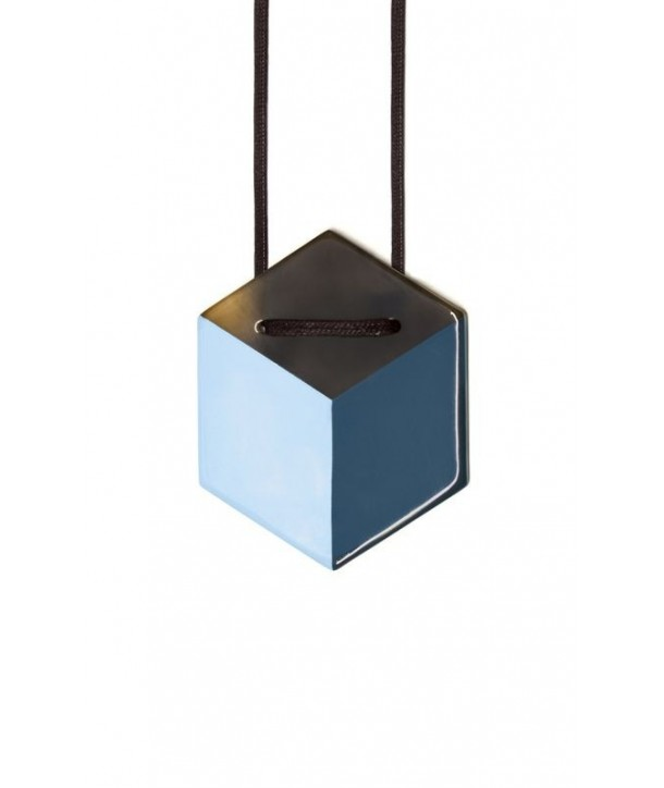Hexagonal pendant with 2-tone blue lacquer