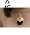Stone & brass pendant