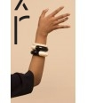 Black outside and white inside round lacquered wood bracelet in Size S