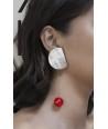 Boucles d'oreilles 2 parties pastille ronde corne et goutte laiton