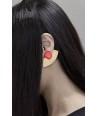 Boucles d'oreilles 2 parties demi rond en laiton et pendant laque rouge