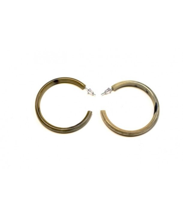 Boucle d'oreille grands anneaux ronds en corne blonde Africaine