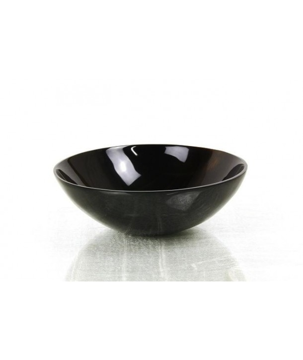 Round cup in plain black horn
