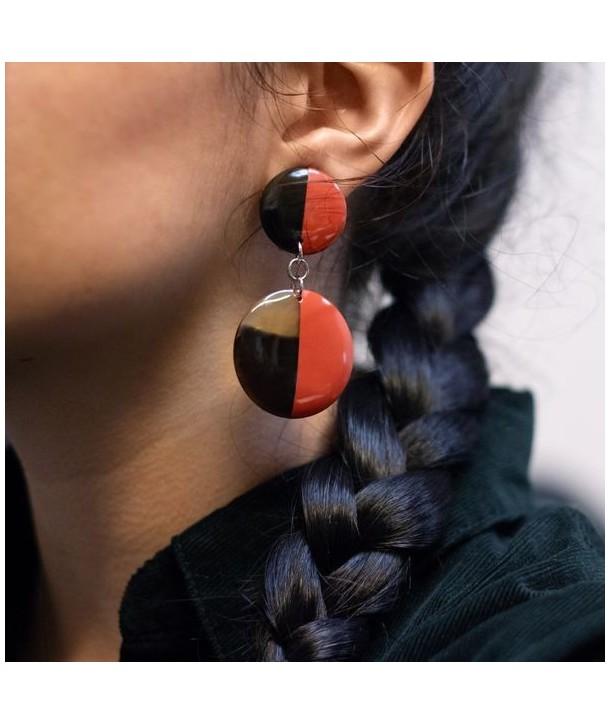 Boucles d'oreilles double disques pleins laqués orange