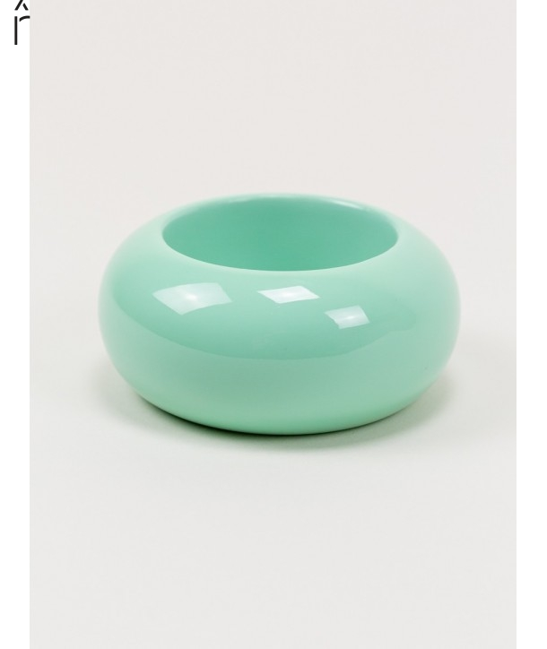 Round mint green lacquered wood bracelet size L