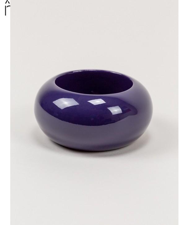 Round purple lacquered wood bracelet size L