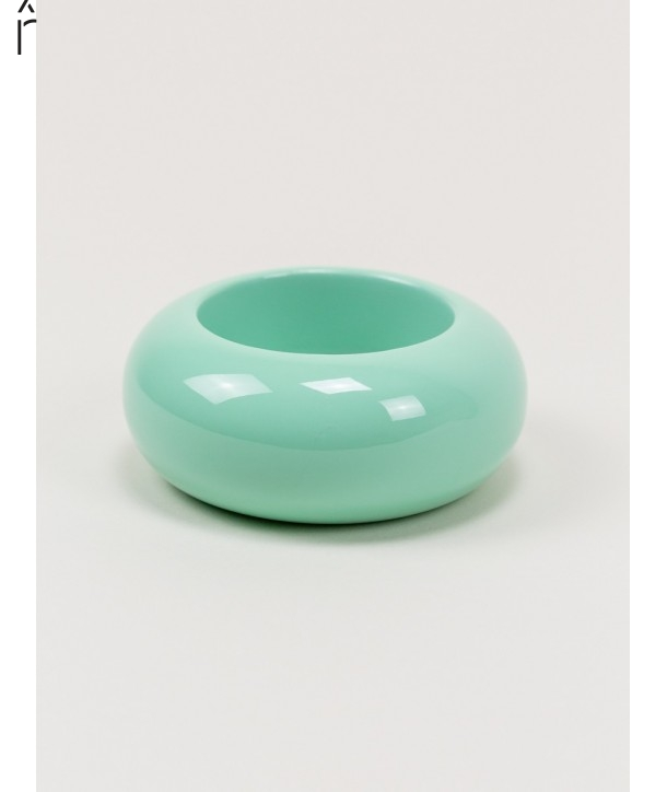 Round mint green lacquered wood bracelet size M