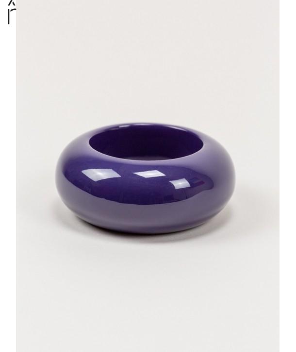 Round purple lacquered wood bracelet size M