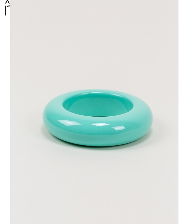 Round mint green lacquered wood bracelet size S