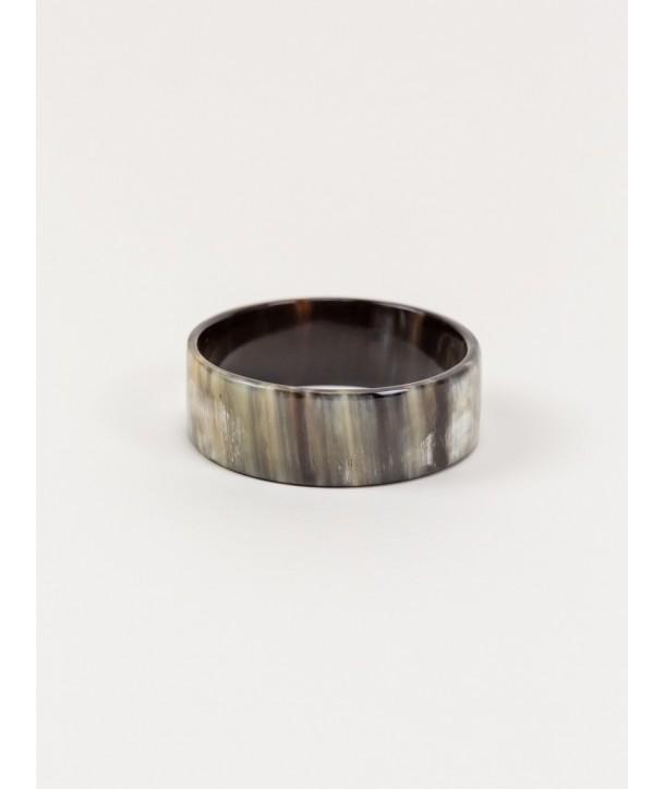 Bracelet plat en corne noire marbrée