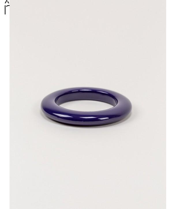 Round purple lacquered wood bracelet size XS