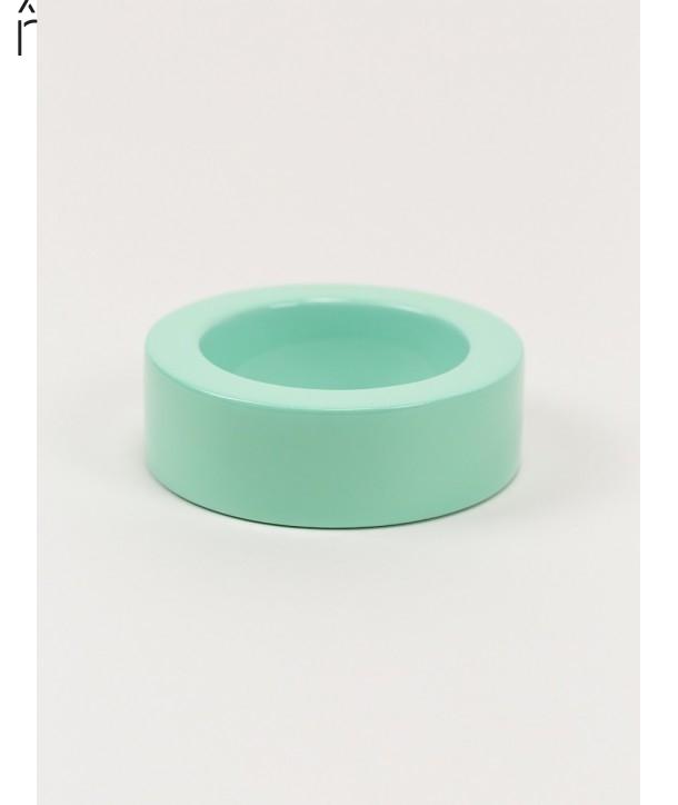Bracelet rond bord droit bois laqué taille L vert menthe